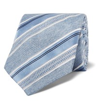 Brioni 8Cm Striped Silk Jacquard Tie Blue