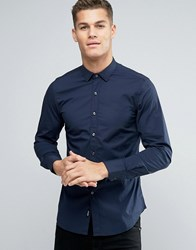 Replay Slim Fit Shirt Point Collar Navy