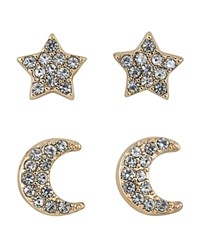 Abs By Allen Schwartz Star And Moon Stud Earrings Set Of 4 Clear Gold