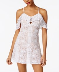 Xoxo Juniors' Lace Ruffled Cold Shoulder Dress White