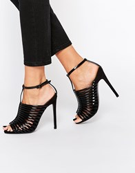 Asos Humid Caged Heeled Sandals Black