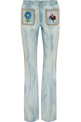 Gucci Studded Embroidered Mid Rise Flared Jeans Mid Denim