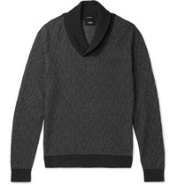Hugo Boss Baik Shawl Collar Cotton And Cashmere Blend Sweater Gray