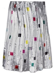 Iceberg Square Print Pleated Skirt Metallic