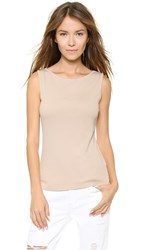 Three Dots Sleeveless Boat Neck Top Chai Latte