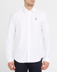 Carven White Embroidered Trombone Logo Chest Oxford Straight Shirt
