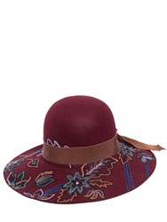 Etro Floral Hand Embroidered Wool Hat Burgundy