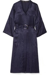 Sally Lapointe Belted Crinkled Satin Twill Midi Dress Navy