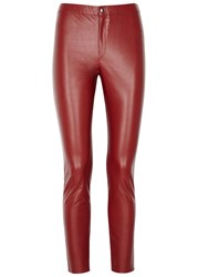 Etoile Isabel Marant Jeffery Red Faux Leather Trousers Burgundy
