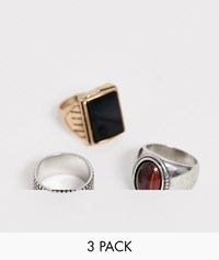 Bershka Design Ring 3 Pack In Silver And Gold Multi