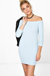 Boohoo Off Shoulder Long Sleeve Bodycon Dress Sky