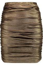 Halston Ruched Metallic Stretch Jersey Mini Skirt