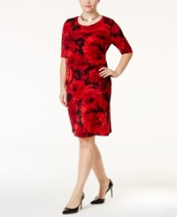Connected Plus Size Floral Print Faux Wrap Dress Red