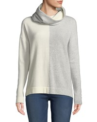 Neiman Marcus Cashmere Colorblock Sweater With Detachable Snood Winter White Grey