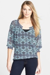 Kut From The Kloth 'Jeovanna' Print Smocked Split Neck Top Blue