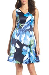 Ellen Tracy Women's Floral Fit And Flare Dress