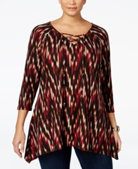 Ny Collection Plus Size Lace Up Printed Top Wine Windstrike