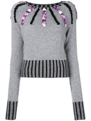 Olympia Le Tan Cashmere Margot Embroidered Sweater Women Cashmere M Grey