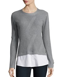 Karl Lagerfeld Layered Ribbed Knit Sweater Light Grey