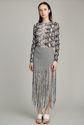 Proenza Schouler Asymmetrical Woven Long Fringe Skirt Black Off White