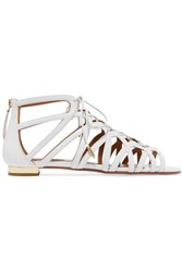 Aquazzura Ivy Leather Sandals White