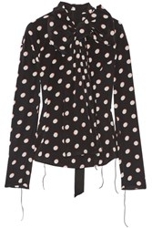 Marc Jacobs Pussy Bow Polka Dot Silk Crepe De Chine Blouse Black