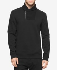 Calvin Klein Men's Quilted Fleece Shawl Collar Sweater A Macy's Exclusive Style Black