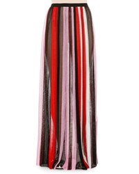 Missoni Pleated Striped Maxi Skirt Pink Red Black White Pink Red Blk Wht