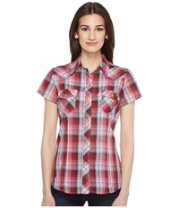 Roper 0926 Cranberry Plaid W Silver Lurex Red Women's Clothing
