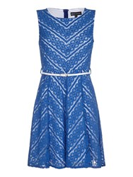 Mela Loves London Zig Zag Lace Skater Dress With Belt Incl Blue