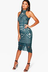 Boohoo Ayn Lace Open Back Midi Bodycon Dress Teal