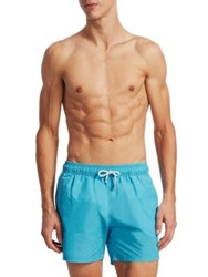 Saks Fifth Avenue Collection Solid Delave Swim Trunks Red Teal