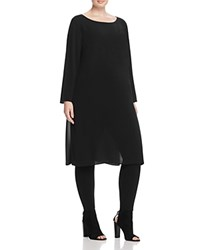 Eileen Fisher Plus Long Sleeve Silk Tunic Black