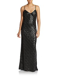 Abs By Allen Schwartz Classic Sequined Slip Gown Black