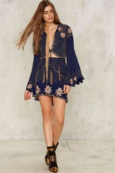 Nasty Gal Collection Bead Your Love Scalloped Skirt Blue