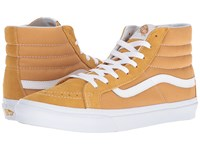 Vans Sk8 Hi Slim Suede Canvas Amber Gold True White Skate Shoes Yellow
