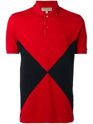 Burberry Overlaid Geometric Motif Short Sleeve Polo Shirt Men Cotton L Red