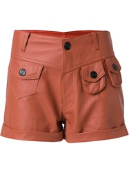 Andrea Bogosian Leather Shorts Brown
