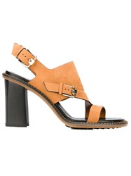 Tod's Buckle Detail Chunky Heel Sandals Nude And Neutrals