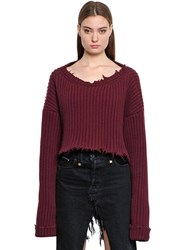 Unravel Cropped Wool And Cashmere Rib Knit Sweater