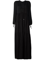 Plein Sud Jeans Lace Up Front Maxi Dress Black