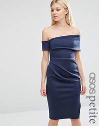 Asos Petite Clean Scuba Midi One Shoulder Dress With Wrap Skirt And Zip Navy Multi