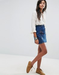 Pull And Bear Pullandbear Embroidered Button Through Denim Skirt Dark Blue
