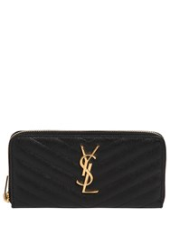 Saint Laurent Zip Around Leather Wallet Black