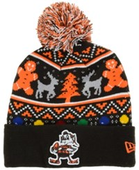 New Era Cleveland Browns Christmas Sweater Pom Knit Hat