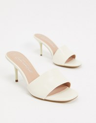 New Look Leather Stiletto Mules In Off White