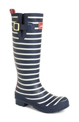 Women's Joules 'Welly' Print Rain Boot French Navy Stripe