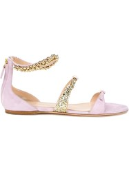 Giambattista Valli Embellished Strap Sandals Pink And Purple