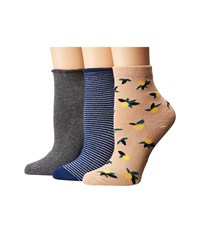 Richer Poorer Mixed Quarter 3 Pack Charcoal Tan Navy Women's Crew Cut Socks Shoes Multi