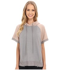 Zobha Short Sleeve Pullover W Color Blocking And Mesh Contrast Heather Grey Women's Short Sleeve Pullover Gray